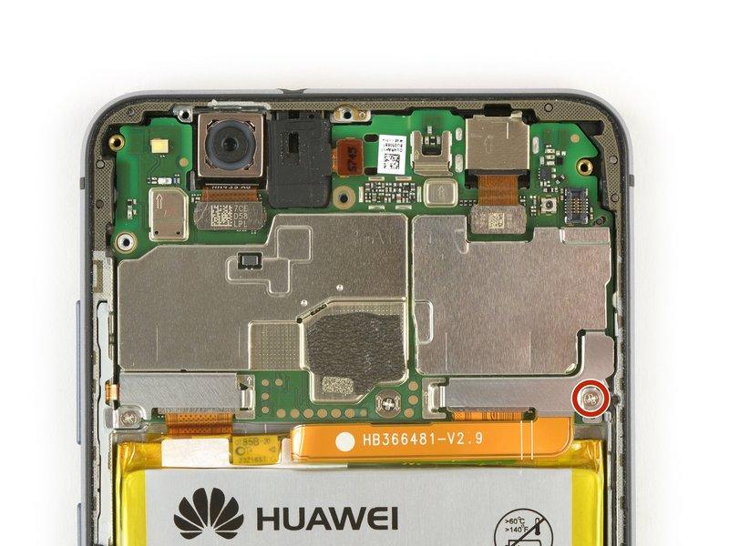 پیچ فیلیپسی که صفحه متصل کننده باتری را در جای خود نگه داشته، باز کنید. (پیچی که با رنگ قرمز علامتگذاری شده است)