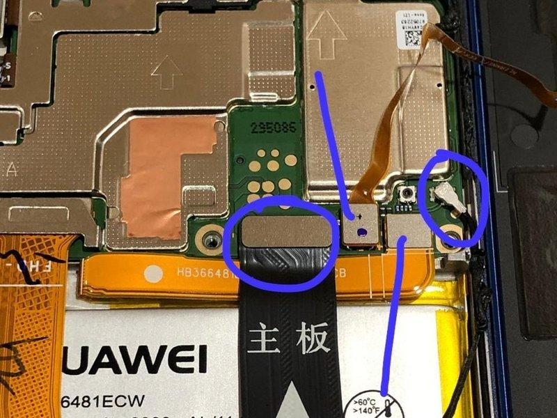کابلهای منعطف مرتبط با برد فرعی (Sub Board)، باتری، Coaxial و سنسور را قطع ارتباط کنید.