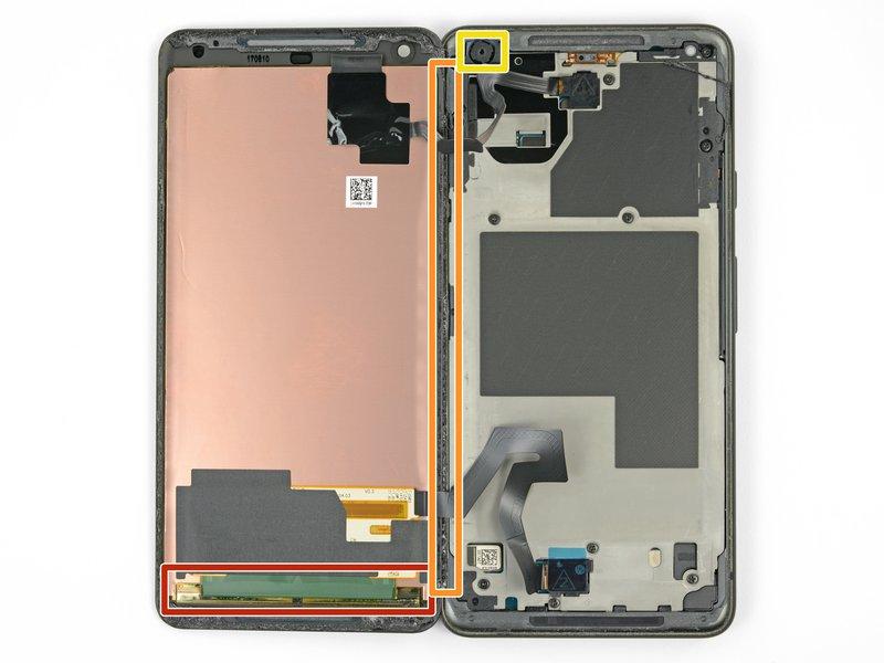 در مراحل زیر، برای جلوگیری از آسیب رسیدن به صفحه نمایش حین جدا کردن چسبهای برخی نواحی، احتیاط بیشتری لازم است: